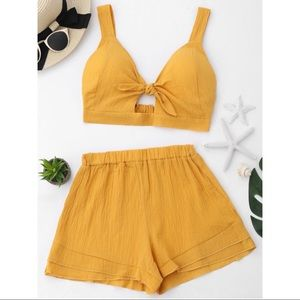 Yellow Tie Top & Shorts Set